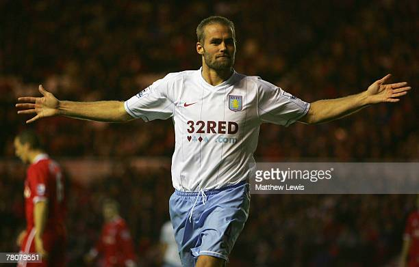 Olof Mellberg of Aston Villa celebrates his goal during the Barclays Premier League match between Middlesbrough and Aston Villa at the Riverside...