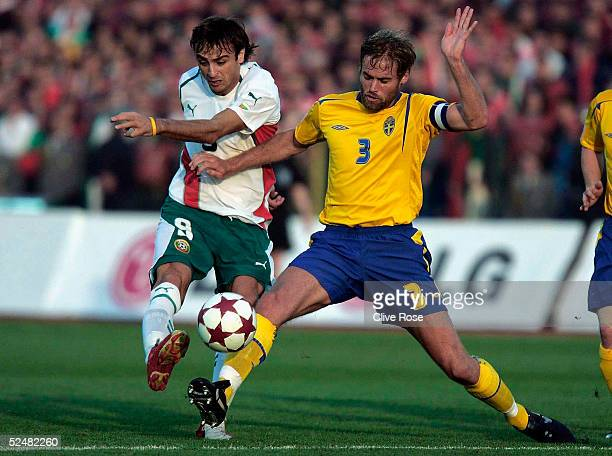 Olof Mellberg of Sweden and Dimitar Berbatov of Bulgaria in action during the Group 8 World Cup Qualifying match between Bulgaria and Sweden at the...