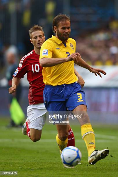 Olof Mellberg of Sweden during the FIFA2010 World Cup Qualifying Group 1 match between Sweden and Denmark at the Rasunda Stadium on June 6, 2009 in...
