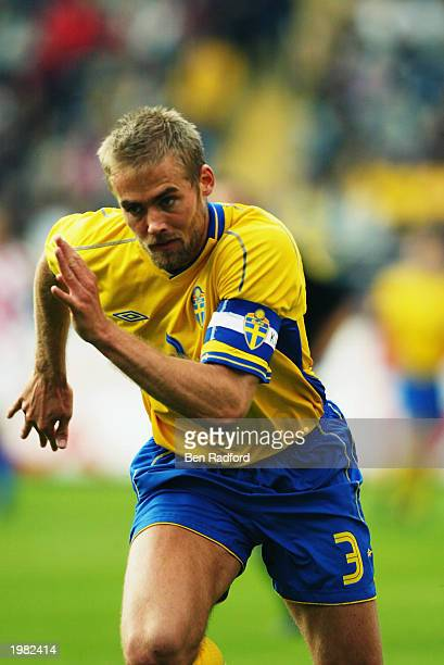 Olof Mellberg of Sweden in action during the International Friendly match between Sweden and Croatia held on April 30 2003 at the Rasunda Stadion in...