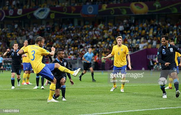 Olof Mellberg of Sweden scores their first goal during the UEFA EURO 2012 group D match between Sweden and England at The Olympic Stadium on June 15,...