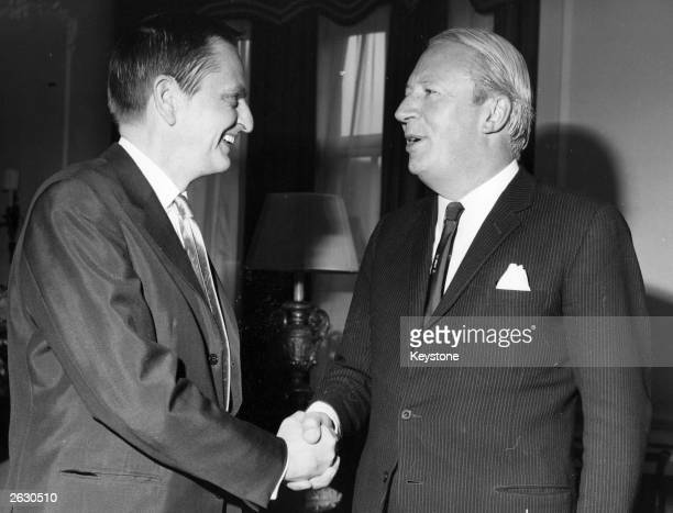 Olof Palme the Swedish politician on a two day visit to London meeting Edward Heath the leader of the opposition at Claridges Hotel Original...