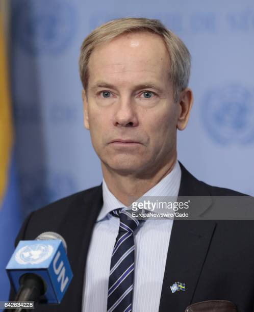 Olof Skoog Permanent Representative of Sweden to the UN and President of the Security Council for January speaks to journalists following Council...