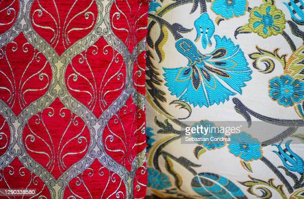 сolorful pillows with oriental ornament, istanbul, turkey. - royal tour stock pictures, royalty-free photos & images