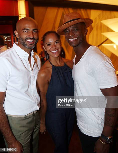 Olu Evans fiancee Misty Copeland and Taye Diggs pose at The Opening Night After Party for Hedwig and The Angry Inch on Broadway at The Lambs Club on...