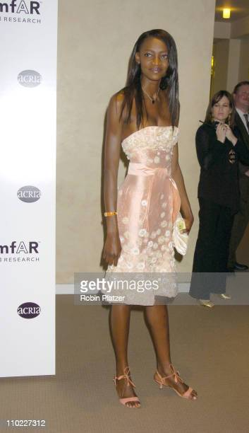 Oluchi during amfAR and ACRIA Honor Herb Ritts with a Sale of Contemporary Artwork Arrivals at Sothebys in New York New York United States
