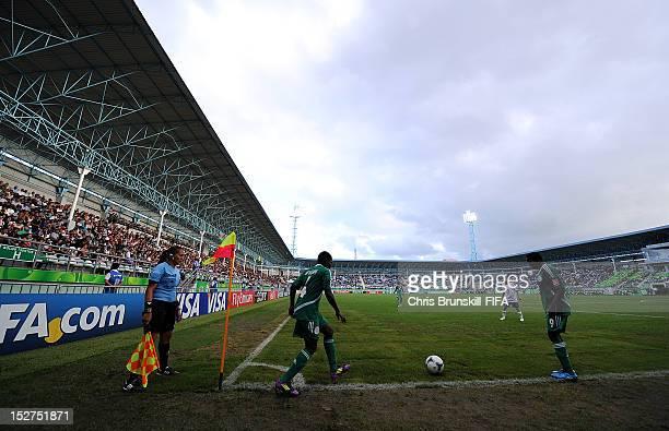 Oluchi Ofoebgu of Nigeria takes a corner during the FIFA U17 Women's World Cup Group A match between Azerbaijan and Nigeria at Lankaran Stadium on...