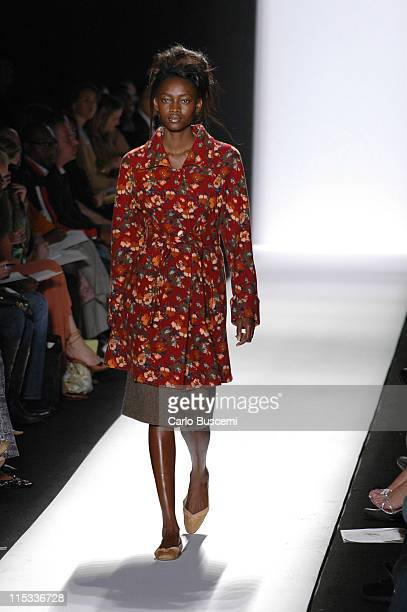 Oluchi Onweagba wearing Luca Luca Fall 2005 during Olympus Fashion Week Fall 2005 Luca Luca Runway at The Tent Bryant Park in New York City New York...