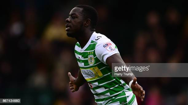 Olufela Olomola of Yeovil Town celebrates his sides second goal during the Sky Bet League Two match between Yeovil Town and Stevenage Borough at...