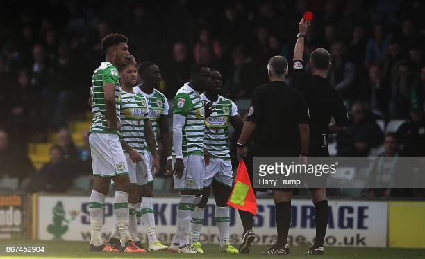 Olufela Olomola of Yeovil Town is shown a red card during the Sky Bet League Two match between Yeovil Town and Stevenage Borough at Huish Park on...
