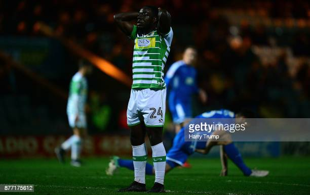 Olufela Olomola of Yeovil Town reacts during the Sky Bet League Two match between Yeovil Town and Notts County at Huish Park on November 21 2017 in...