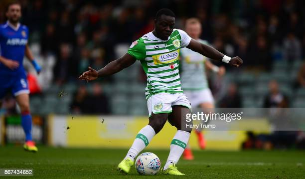Olufela Olomola of Yeovil Town scores his sides second goal during the Sky Bet League Two match between Yeovil Town and Stevenage Borough at Huish...
