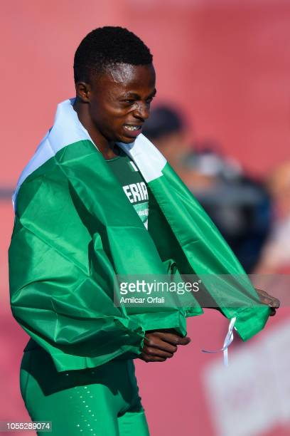 Olukunle Alaba Akintola of Nigeria celebrates after reaching second place in the Men's 100m Stage 2 during day 9 of the Buenos Aires Youth Olympics...