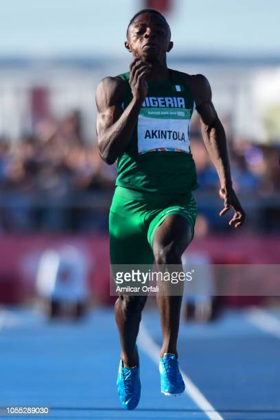 Olukunle Alaba Akintola of Nigeria competes Men's 100m Stage 2 during day 9 of the Buenos Aires Youth Olympics Games at Youth Olympic Park Villa...