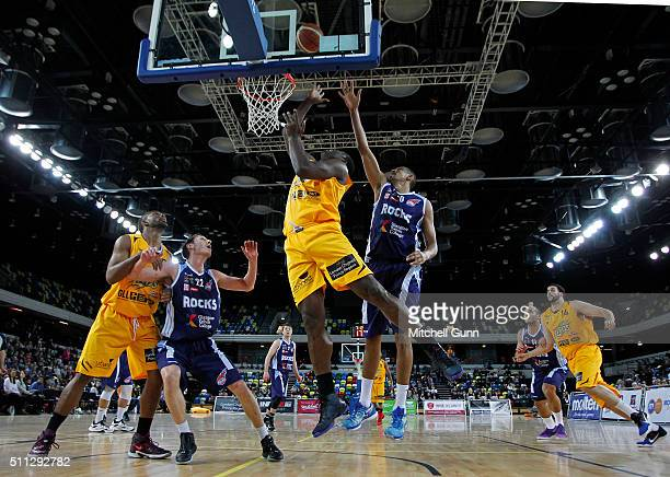Olumide Oyedeji of London shoots during the British Basketball League match between London Lions and Glasgow Rocks at The Copper Box Arena on...