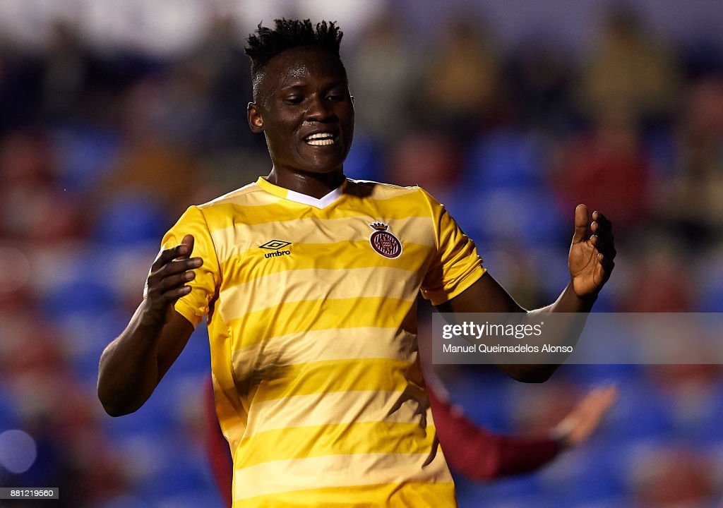 Olunga Ogada of Girona reacts as he fails to score during the Copa del Rey, Round of 32, Second Leg match between Levante and Girona at Ciudad de Valencia Stadium on November 28, 2017 in Valencia, Spain.