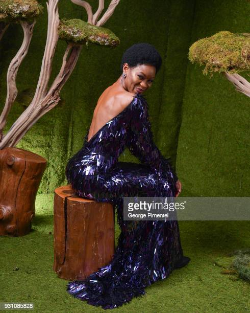 Olunik Adeliyi poses in the 2018 Canadian Screen Awards Broadcast Gala Portrait Studio at Sony Centre for the Performing Arts on March 11 2018 in...