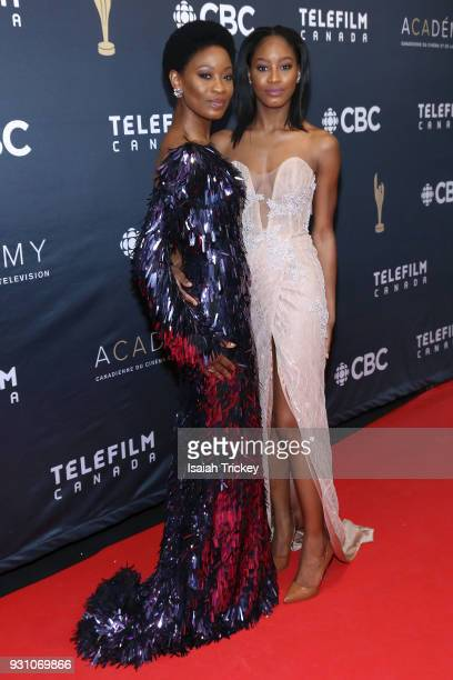 Olunik Adeliyi and Alesha Bailey arrive at the 2018 Canadian Screen Awards at the Sony Centre for the Performing Arts on March 11 2018 in Toronto...
