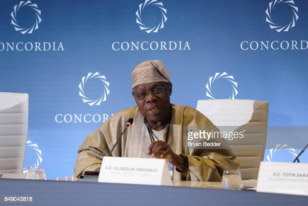 E Olusegun Obasanjo Former President Federal Republic of Nigeria speaks at The 2017 Concordia Annual Summit at Grand Hyatt New York on September 18...
