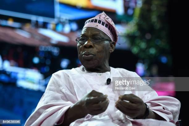 E Olusegun Obasanjo former President of Federal Republic of Nigeria speaks at The 2017 Concordia Annual Summit at Grand Hyatt New York on September...