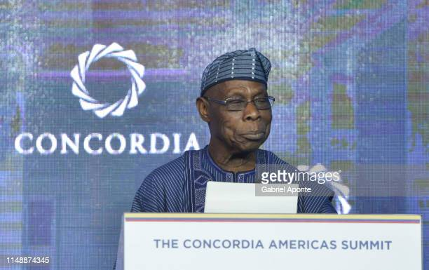 Olusegun Obasanjo Former President of Nigeria delivers a speech during the opening session at Grand Hyatt Bogota on May 13 2019 in Bogota Colombia