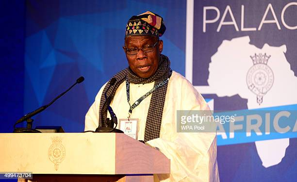 Olusegun Obasanjo former president of Nigeria speaks during the London Global African Investment Summit at St James' Palace on December 1 2015 in...
