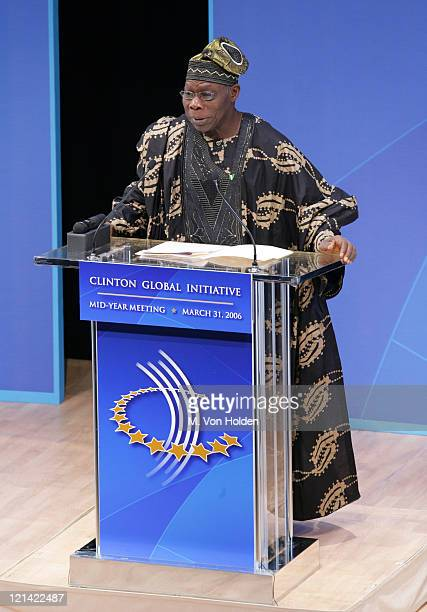 Olusegun Obasanjo Nigerian President during Bill Clinton announces details of Clinton Global Initiative 2006 at Allen Room Jazz at Lincoln Center in...