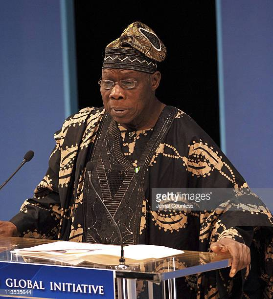 Olusegun Obasanjo President of Nigeria during Former President Bill Clinton Announces Details of the 2006 Clinton Global Initiative March 31 2006 at...