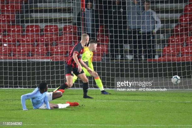 Oluwafisayo DeleBashiru of Manchester City scores a goal to make it 31 during the FA Youth Cup match between AFC Bournemouth U18 and Manchester City...