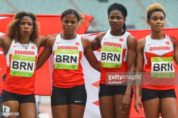 Oluwakemi Adekoya Edidiong Ofonime Odiong Aminat Jamal Salwa Eid Naser of Benin Women's 4 x 400 Relay take the Gold during day five of Athletics at...