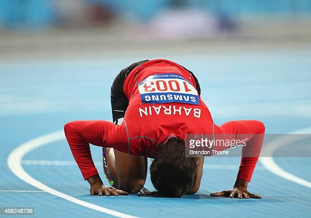 Oluwakemi Mujidat Adekoya of Bahrain celebrates winning the Women's 400m Final during day nine of the 2014 Asian Games at Incheon Asiad Main Stadium...