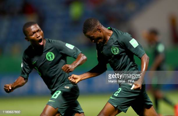 Oluwatimilehin Adeniyi of Nigeria celebrates after he scores the 4th goal during the FIFA U17 World Cup Brazil 2019 Group B match between Nigeria and...