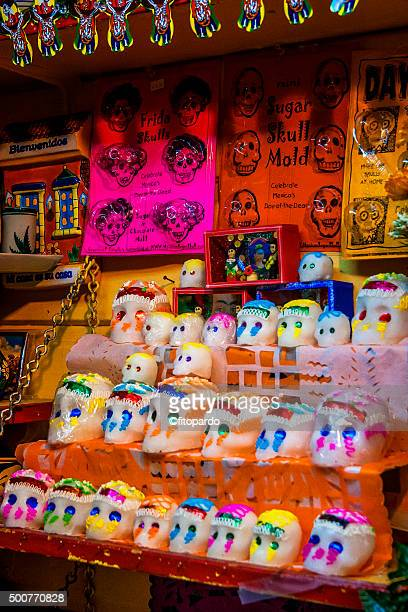 olvera street on day of the dead - sugar skull stock photos and pictures