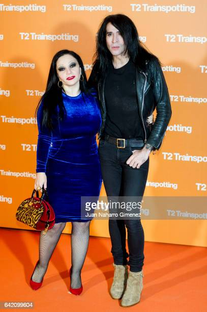 Olvido Gara Alaska and Mario Vaquerizo attend 'T2 Trainspotting' premiere at Sony Pictures building on February 16 2017 in Madrid Spain