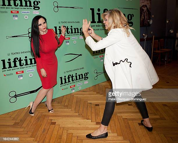 Olvido Gara and Bibiana Fernandez attend the 'Lifting' premiere at Infanta Isabel Theatre on March 21 2013 in Madrid Spain