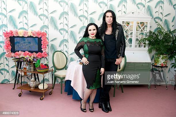 Olvido Gara and Mario Vaquerizo attend 'El Tea Party de Alaska y Mario' photocall at Torres Acosta on May 13 2014 in Madrid Spain