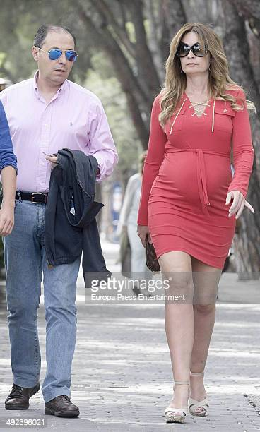 Olvido Hormigos and her husband are seen on April 25, 2014 in Madrid, Spain.