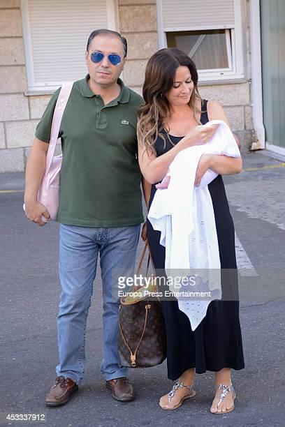 Olvido Hormigos and Jesus Atahonero present their daughter Valeria on August 4 2014 in Toledo Spain