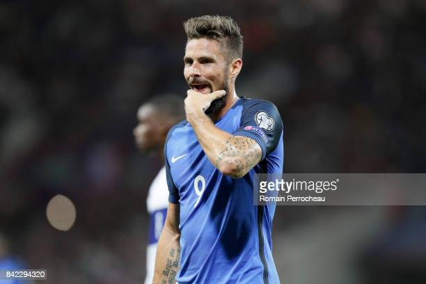 Olvier Giroud of France reacts during the FIFA 2018 World Cup Qualifier between France and Luxembourg at on September 3 2017 in Toulouse France