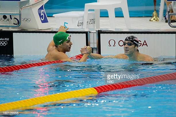 OLYMchar PICS Swimming Finals Pictured Chad le Clos Michael Phelps