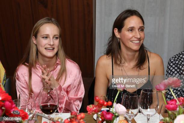 Olympia Campbell and Rosemary Ferguson wearing ALEXACHUNG attend Alexa Chung's CHUNGSGIVING dinner to celebrate Thanksgiving and the launch of her...