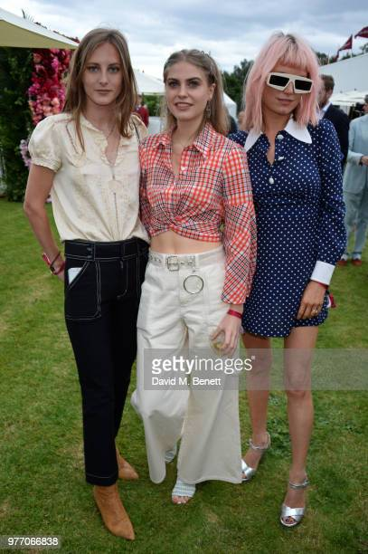 Olympia Campbell Bea Fresson and DJ Henri attend the Cartier Queen's Cup Polo Final at Guards Polo Club on June 17 2018 in Egham England