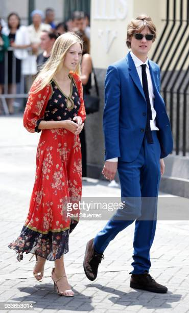 Olympia de Grecia arrives to the wedding of Prince Christian of Hanover and Alessandra de Osma at Basilica San Pedro on March 16 2018 in Lima Peru