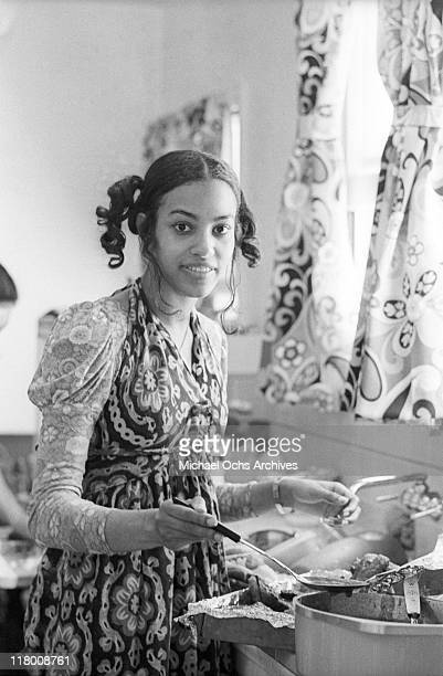 Olympia Sylvers of the R and B group The Sylvers helps make lunch at home on June 29 1972 in Los Angeles California