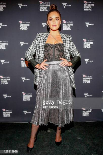 Olympia Valance arrives ahead of Runway 3 at Melbourne Fashion Festival on March 6, 2019 in Melbourne, Australia.