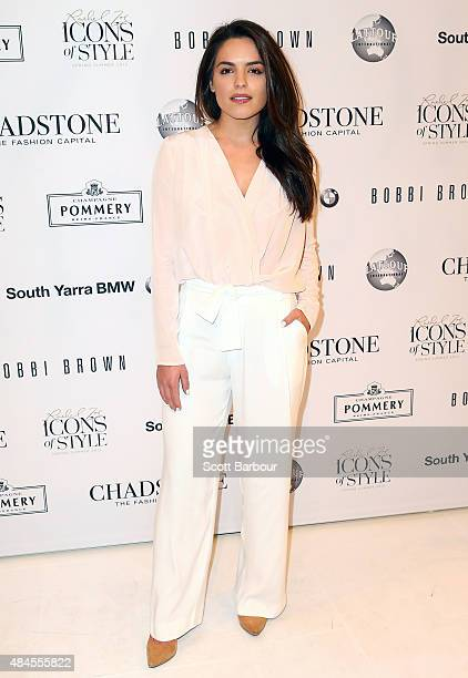 Olympia Valance arrives to attend the 'Icons of Style' campaign launch at Chadstone Shopping Centre on August 20 2015 in Melbourne Australia