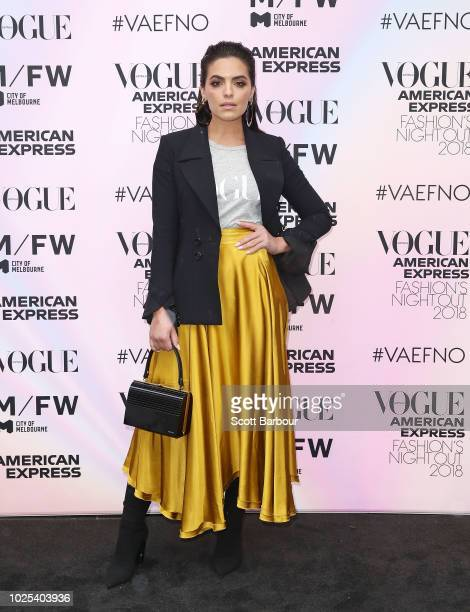 Olympia Valance poses during Vogue American Express Fashion's Night Out on August 31 2018 in Melbourne Australia
