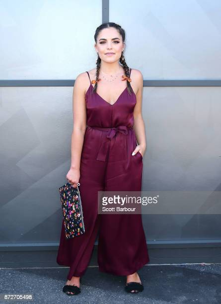 Olympia Valance poses on Stakes Day at Flemington Racecourse on November 11 2017 in Melbourne Australia