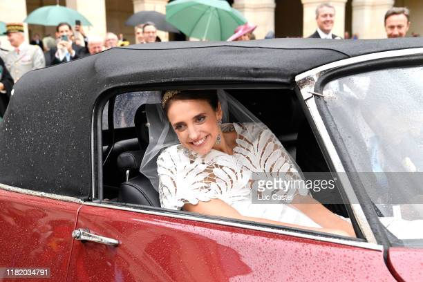Olympia Von ArcoZinneberg attends her Wedding with Prince JeanChristophe Napoleon at Les Invalides on October 19 2019 in Paris France