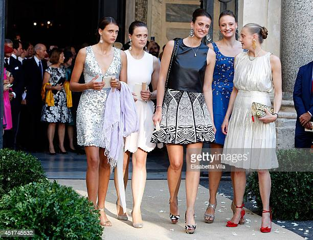 Olympia von und zu ArcoZinneberg and sisters attend the wedding of Prince Amedeo Of Belgium and Elisabetta Maria Rosboch Von Wolkenstein at Basilica...